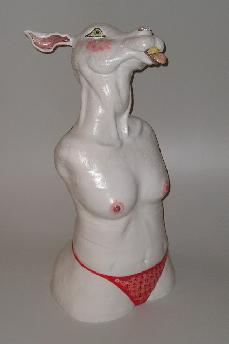 Ceramic sculpture of anthropomorphic rabbit with female body topless wearing a red thong